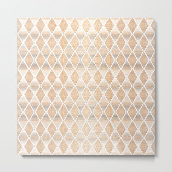White and Copper Geometric Pattern Metal Print