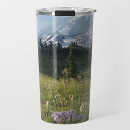 Wildflowers and Mount Rainier Travel Mug