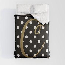 "Retro Black + White Polka Dot + Faux Gold Foil ""C"" Monogram Comforters"