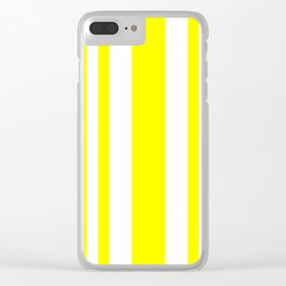 Mixed Vertical Stripes - White and Yellow Clear iPhone Case