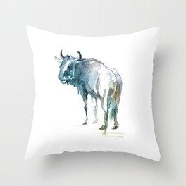 Wildebeest / Abstract animal portrait. Throw Pillow