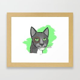Cat With Monocle Framed Art Print