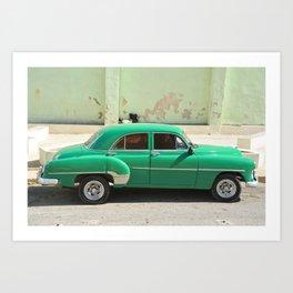 Vintage Car Havana Cuba Green Old Automobile American Classic Latin America Tropical Caribbean Art Print