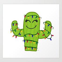 Merry and Bright Cactus Art Print