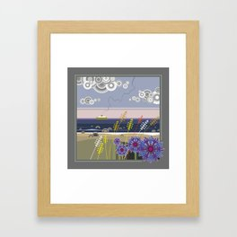 Sea landscape with wildflowers and ferry boat Framed Art Print