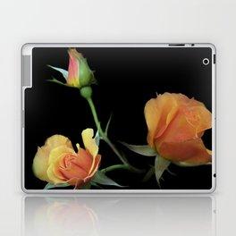 flowers on black - 3 orange rosebuds Laptop & iPad Skin