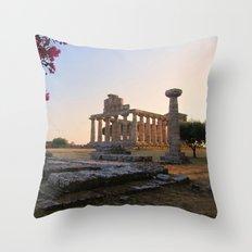Paestum sunset Throw Pillow