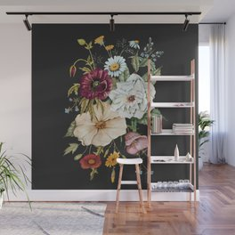 Colorful Wildflower Bouquet on Charcoal Black Wall Mural