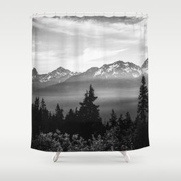 Morning in the Mountains Black and White Shower Curtain