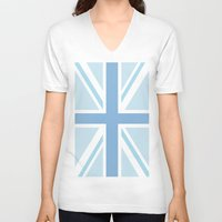 union jack V-neck T-shirts featuring Blue Union Jack by Alesia D