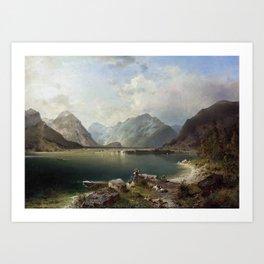 Franz Richard UNTERBERGER (1838 - 1902) Der Achensee mit Blick auf den Ortsteil Scholastika, am Nord Art Print