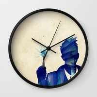 david tennant Wall Clocks featuring Doctor Who 10th Doctor David Tennant by Art by Colin