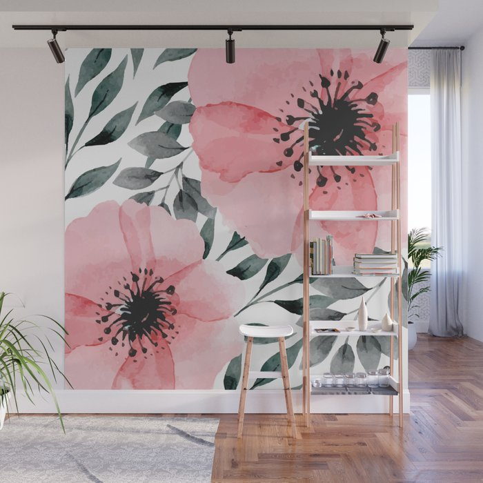 Big Watercolor Flowers Wall Mural by mmartabc Society6