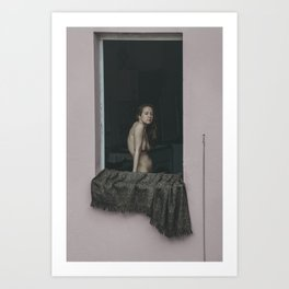 The nude model stands in the window. Art Print