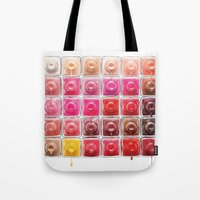 nail polish Tote Bags featuring Dripping Nail Polish by LuxuryLivingNYC