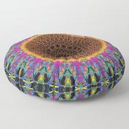 Glitch Mandala Neon Floor Pillow