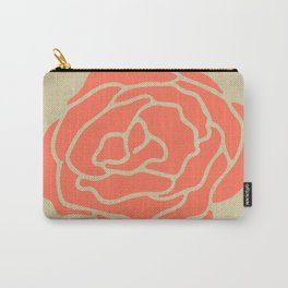 Rose Deep Coral on Linen Carry-All Pouch