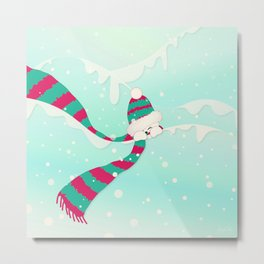 Christmas Peekaboo Snowman I - Mint Blue Snowy Background Metal Print