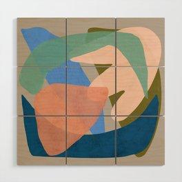 Shapes and Layers no.30 - Large Organic Shapes Blue Pink Green Gray Wood Wall Art