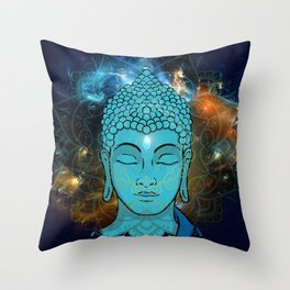 Blue Face of Buddha in the Galaxy Throw Pillow