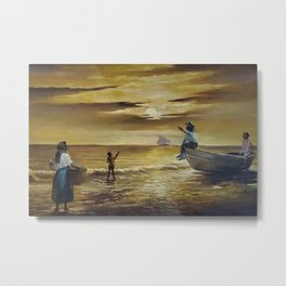 Winslow Homer's African American Masterpiece, Family Seaside at Sunset panoramic landscape painting Metal Print