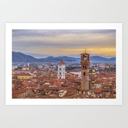 Aerial View Historic Center of Lucca, Italy Art Print
