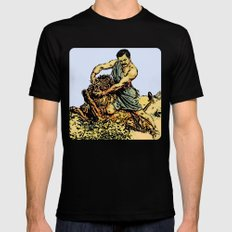 Ron Swanson Slaying A Lion  |  Parks and Recreation Mens Fitted Tee Black MEDIUM