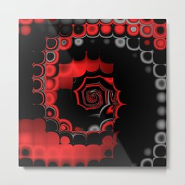 TGS Fractal Abstract in Red and Black Metal Print