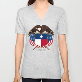 Texas flag and eagle crest concept Unisex V-Neck