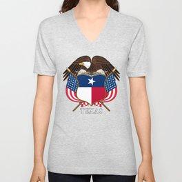 Texas flag and eagle crest concept Unisex V-Neck