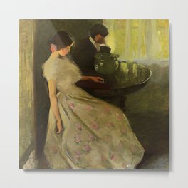 The Tiff, No. 2 romantic portrait painting by Florence Carlyle Metal Print