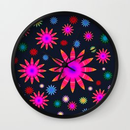 Multicolored flowers Wall Clock