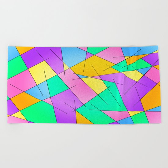 ABSTRACT LINES #1 (Multicolored Vivid) Beach Towel