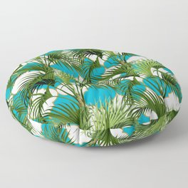Geometric Palm Leaf Pattern - Turquoise Gold Floor Pillow