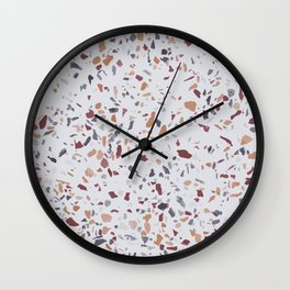 TERRAZZO MARBLE AUTUMN PATTERN RED YELLOW TEAL Wall Clock