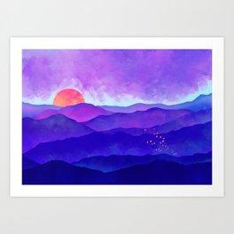Indigo Peaks Art Print
