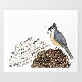 Tufted Titmouse Emma Bell Miles Quote watercolor Art Print