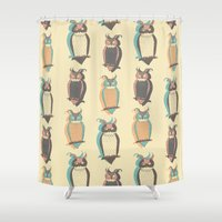 owls Shower Curtains featuring Owls by Julia