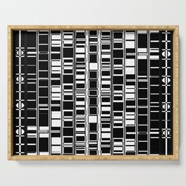 Bar Code Black and White Abstract Design Serving Tray