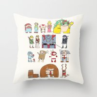 nintendo Throw Pillows featuring Nintendo Characters by Hamburger Hands