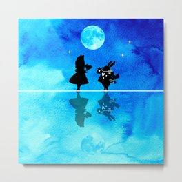 Magical Watercolor Night II - Alice In Wonderland Metal Print