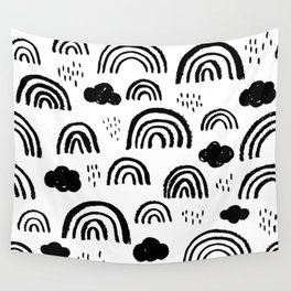 Black and white rainbow clouds Wall Tapestry