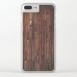 Cherry Stained Wood Barn Board Texture Clear iPhone Case