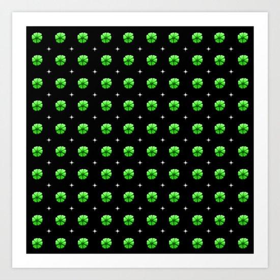 White stars green flowers grid by stephobrien