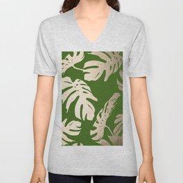 Palm Leaves White Gold Sands on Jungle Green Unisex V-Neck