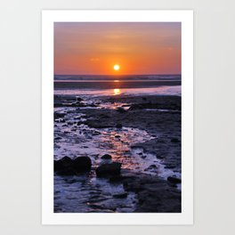 sunset over sand Art Print