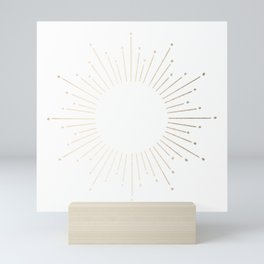 Simply Sunburst in White Gold Sands on White Mini Art Print