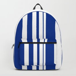 White and blue striped . Backpack