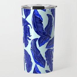 Banana leaves tropical leaves blue white #homedecor Travel Mug