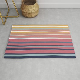Colorful Stripes, Abstract Art, Yellow, Red, Blue, Teal, Colorful Prints Rug